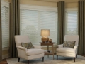 Solid Color Drapery Panels with Hunter Douglas EverWood Wood Blinds