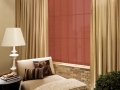 Cream Draperies with Hunter Douglas Skyline Gliding Panels